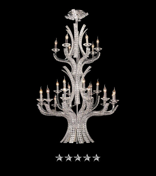 Eclipsed Curved Crystal Chandelier - Grand Entrance Chandelier