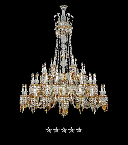 Grand Tiered Amber Crystal Chandelier - Grand Entrance Chandelier