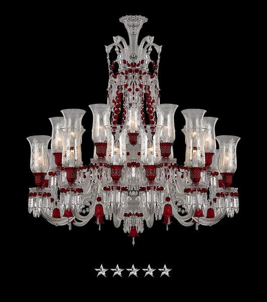 18 Light Double Tier Red Crystal Chandelier - Grand Entrance Chandelier