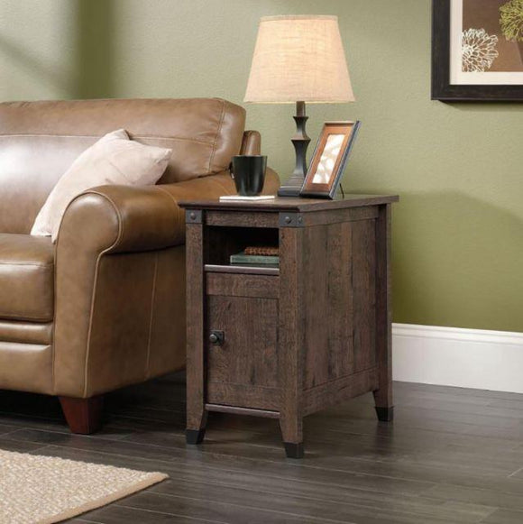 Sauder Carson Forge Side Table in Coffee Oak