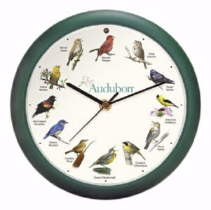 "Clock-Audubon Singing Birds w/Light Sensor (8"" Dia"