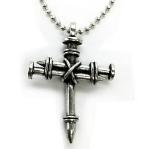 "LG PEWTER WRAP NAIL CROSS-30"" BALL CHAIN Necklace"