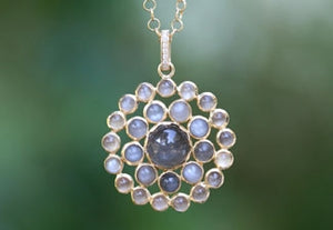 Moonstone Round Charm with Pave Bale