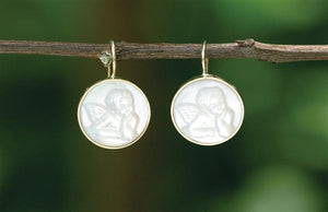 Mother of Pearl Cameo Earrings on wire