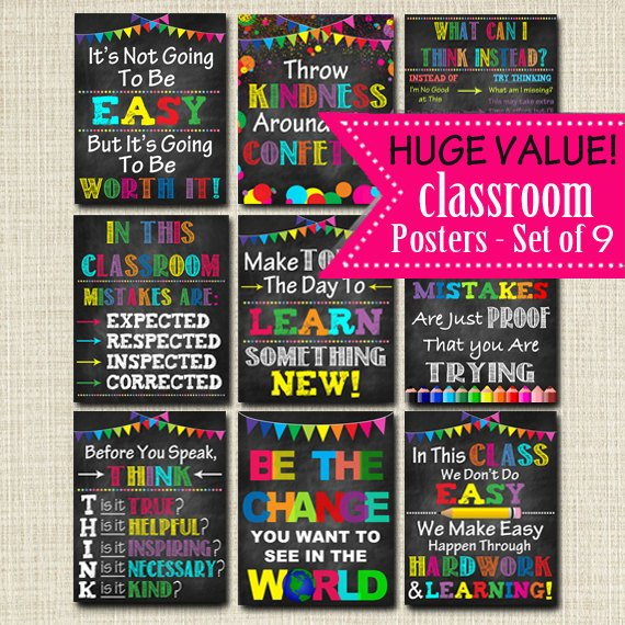 30% Off PRINTABLE Classroom Poster Set, Decor, Motivational Teacher Chalkboard Printables, Mistakes Proof of Trying, Think Before You Speak