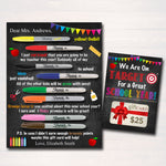 Unique & EDITABLE Back to School Teacher Gift Printable Set, Gift Card From Student, PTA, Teacher Appreciation, Thank You INSTANT Download