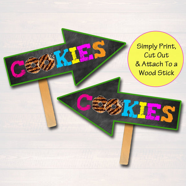Cookie Booth Arrow Signs, Stop Cookies Sold Here, Printable Cookie Drop Banner, Cookie Booth Sales Poster, INSTANT DOWNLOAD Fundraiser Booth