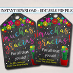 EDITABLE Appreciation Gift Tags, Teacher Nurse Staff Volunteer Gift INSTANT DOWNLOAD Printable Mexican Fiesta Themed Label Gift From Student