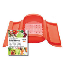 Lékué Steam Case With Tray With 10 Minute Cookbook Color:Red