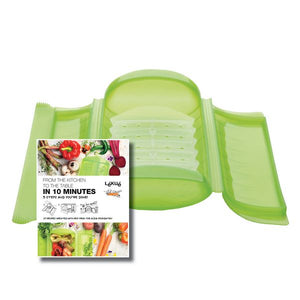 Lékué Steam Case With Tray With 10 Minute Cookbook Color:Green