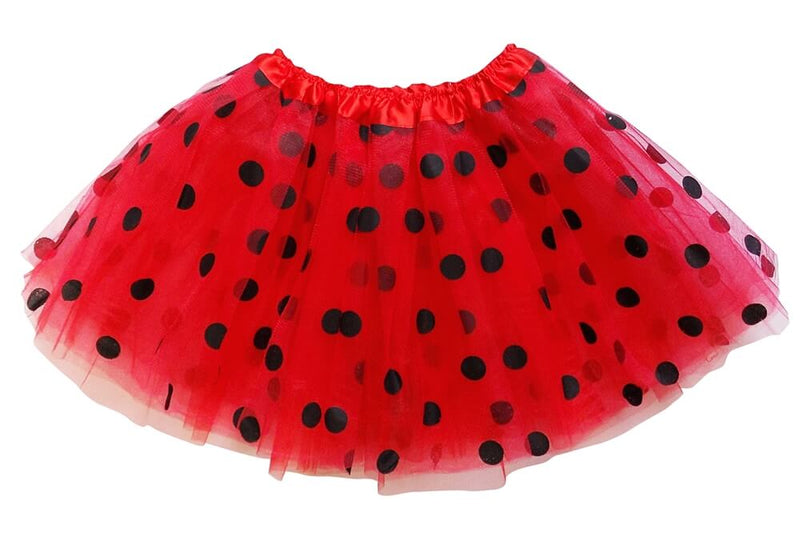 Red - Black Polka Dot Tutu Skirt for Girls, Women, Plus