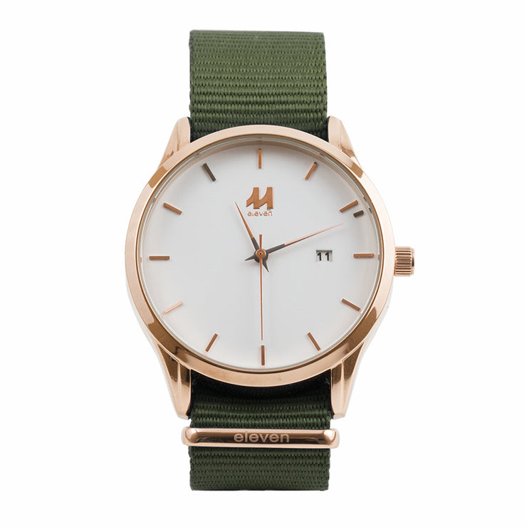 11 Watch - Gold/Green Nylon