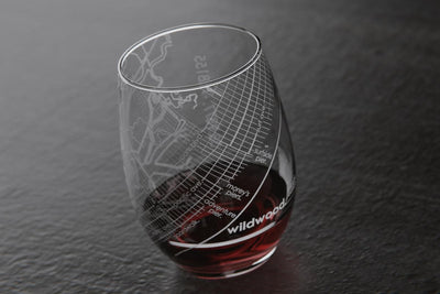 Home Town Maps Stemless Wine Glass