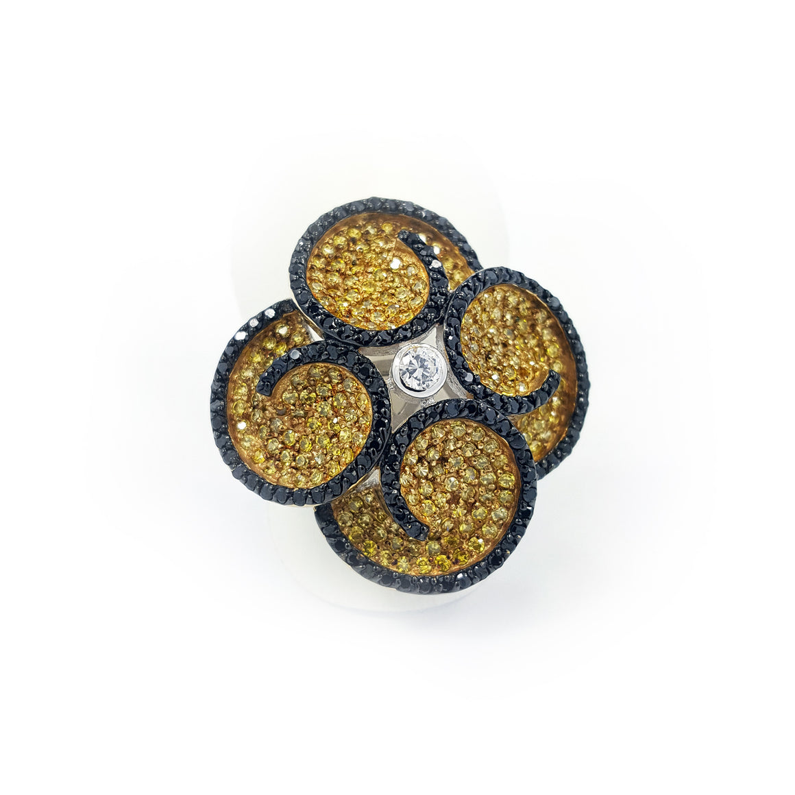Silver ring, yellow & black