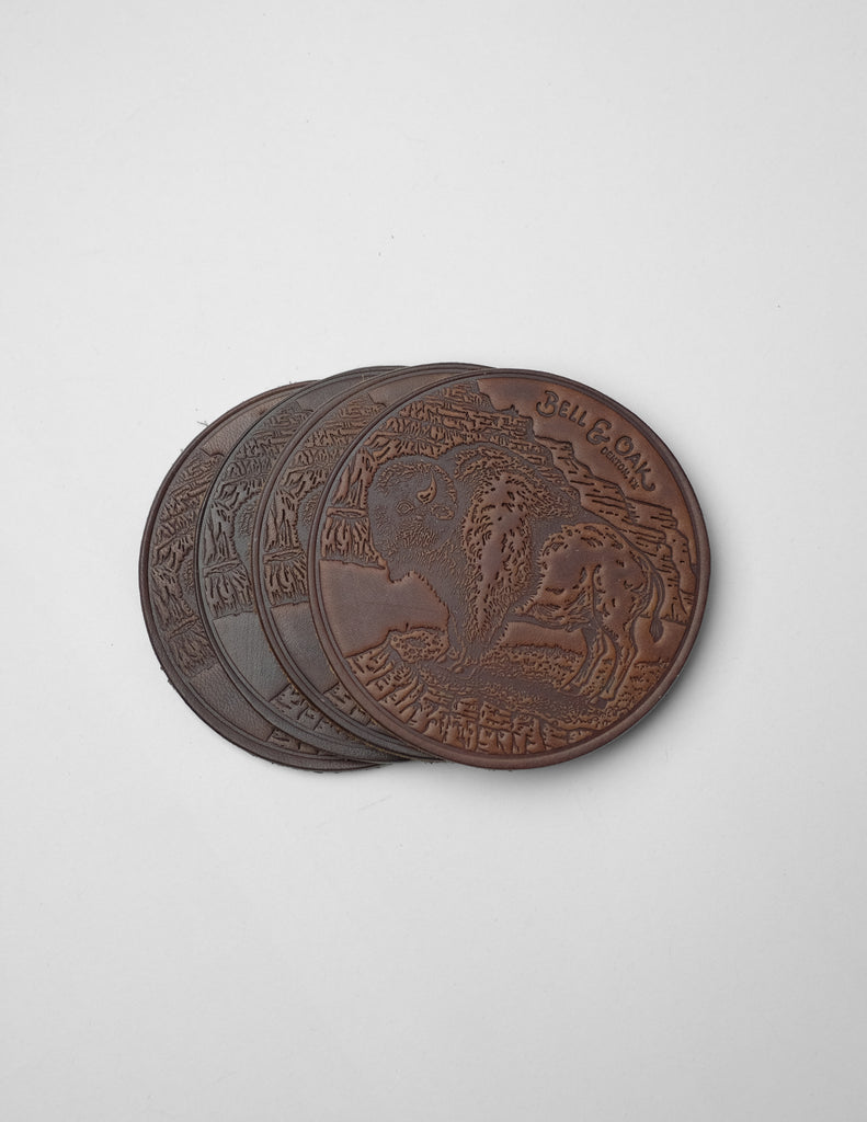 Sam Larson Bison Leather Coaster Set