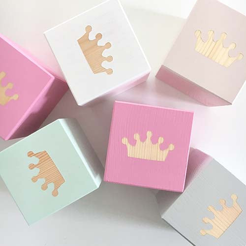 Crown - Personalised Baby Cube Blocks