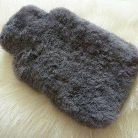 Sheepskin Hot Water Bottle in Grey