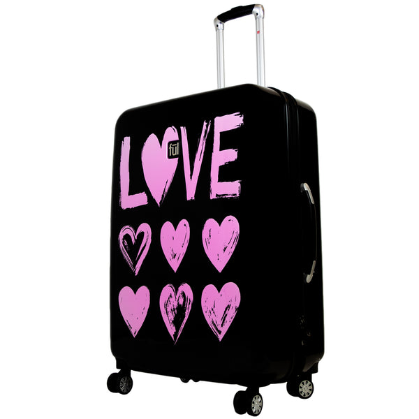Love 29in Hard Sided Rolling Suitcase, Pink Print on Black Background