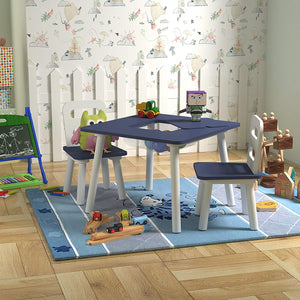 Pidoko Kids Table and Chairs Set with Storage - Blue/White