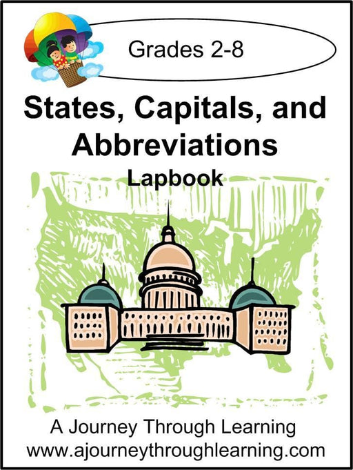 States, Capitals, and Abbreviations Flashcards Lapbook - A Journey Through Learning Lapbooks