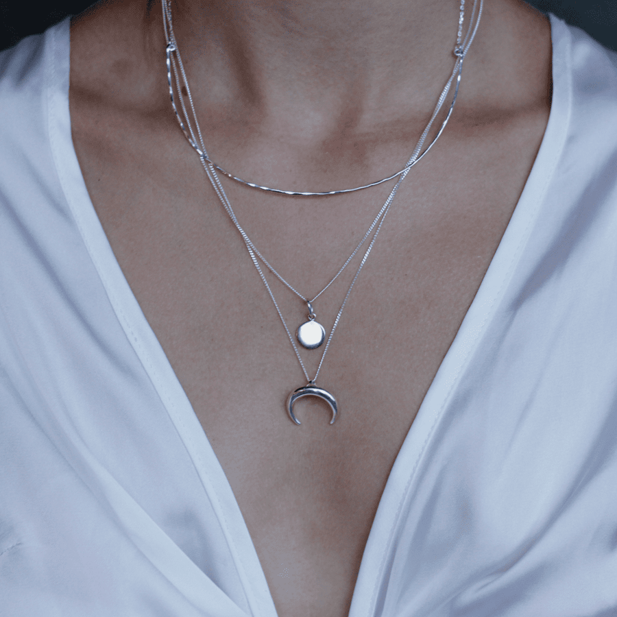 silver minimalistic layering necklace