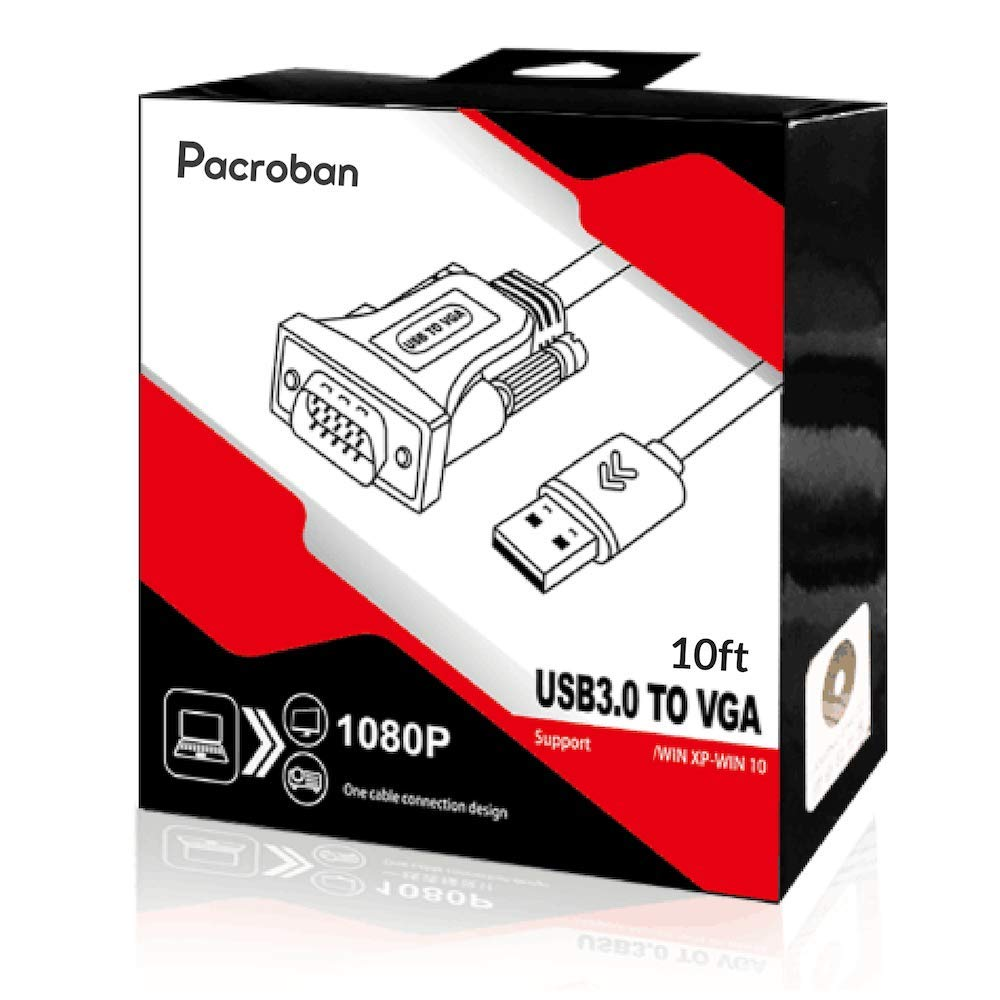 Pacroban USB 3.0 to VGA Adapter Cable - 10ft Multi Monitor Converter, External Video Card (Windows Only)