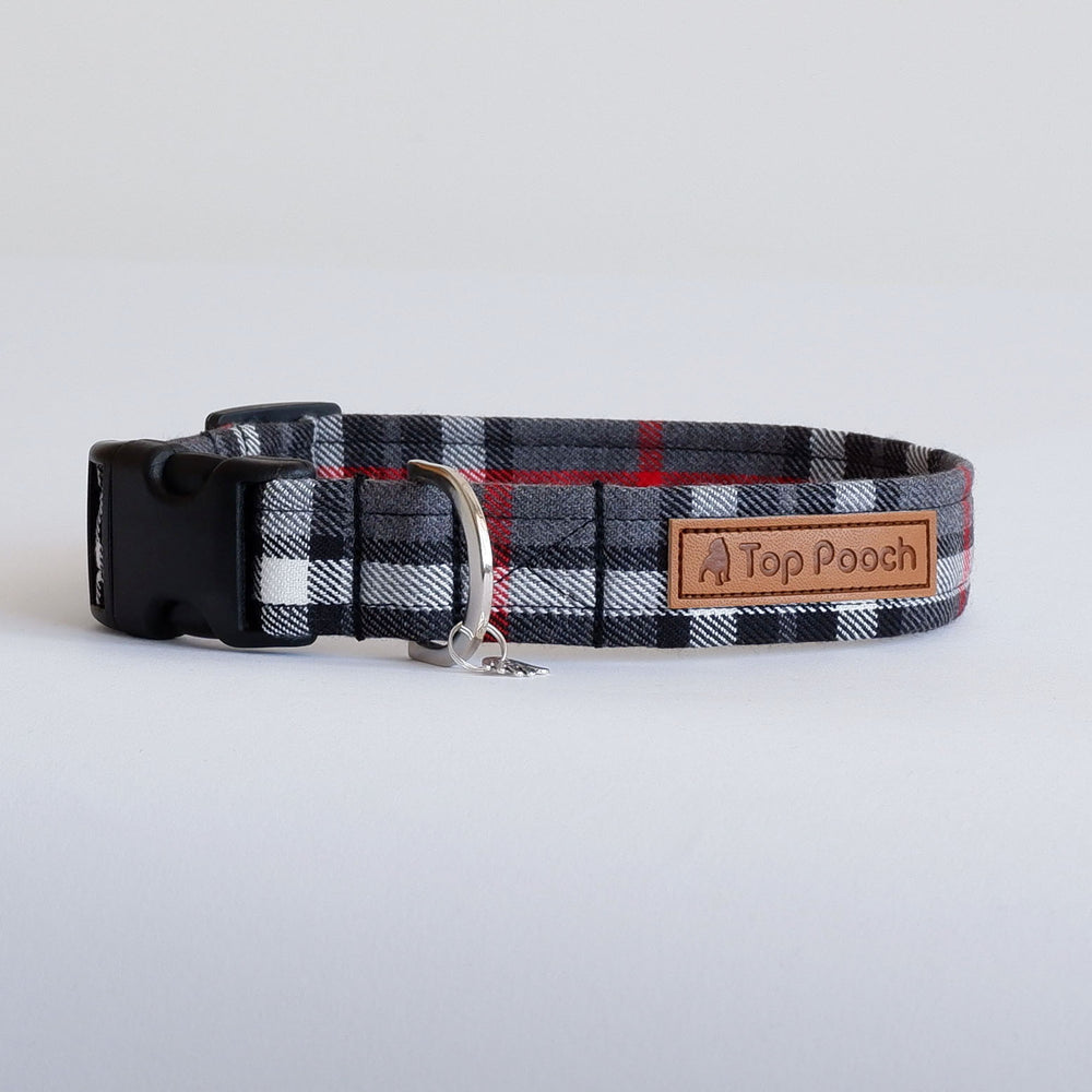 Grey Tartan dog collar | Handmade Dog collar