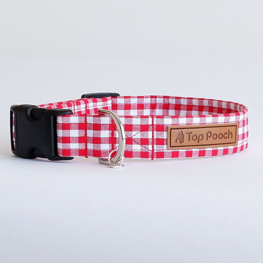 Gingham Red Dog Collar
