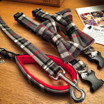 Grey Tartan Dog Collar