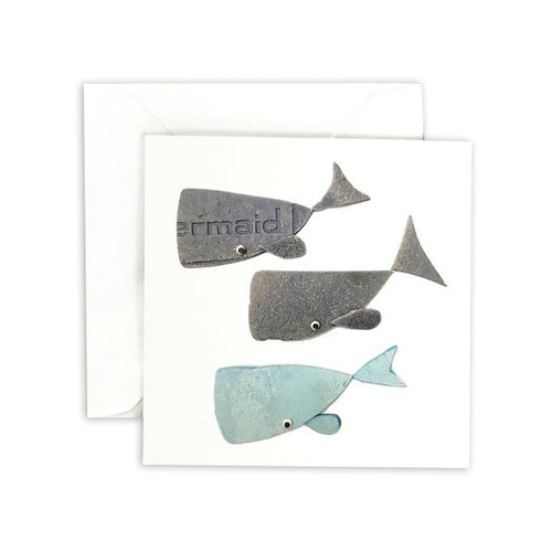 Gray & Blue Whale Square Greeting Card