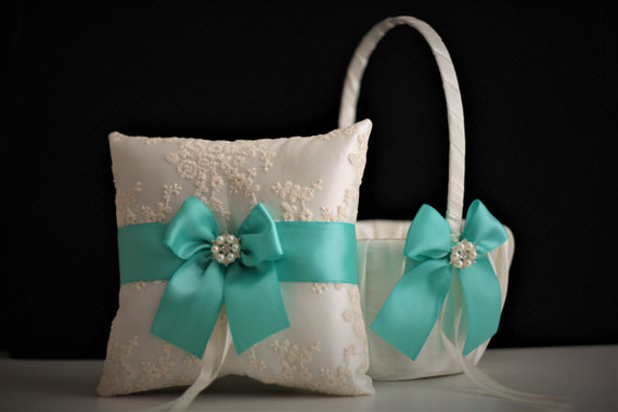 Mint Flower Girl Basket \ Mint Wedding Ring Bearer \ Mint Wedding Bearer Pillow \ Mint Wedding Basket Pillow Set \ Mint Lace Bearer Pillow