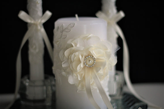 Ivory Wedding Candles \ Ivory Lace Unity Candles + Cake Serving Set + Champagne Glasses with Flower \ Ceremony Candles + Wedding Flutes