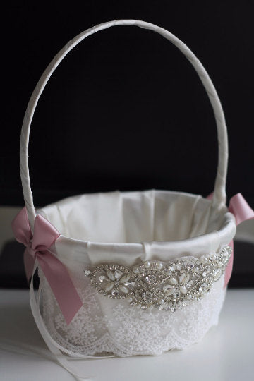 Dusty rose Flower girl basket \ Mauve Wedding Basket \ Mauve petals Basket \  Mauve ring bearer pillow \ dusty rose bearer \ mauve sash belt