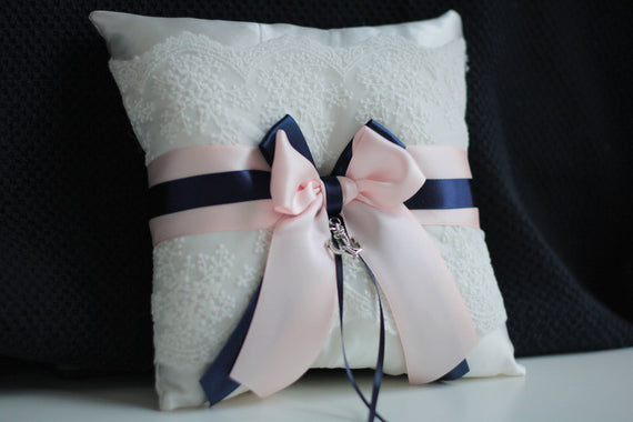 Navy Pink Bearer / Blush pink bearer pillow / Blush navy bearer pillow / Navy ring pillow / Blush navy wedding ring pillow / Anchor Bearer