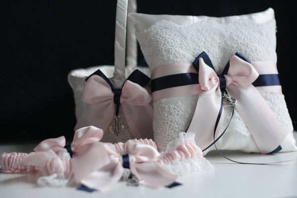 Navy Pink Wedding Basket / Navy Pink Bearer / Navy Blush Anchor / Anchor Garter Set / Sea Anchor Wedding / Anchor Bearer Flower Girl Basket