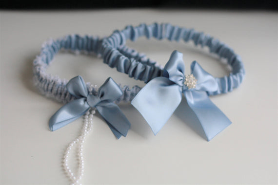 Steel Blue Garter Set, Steel Bridal Garter, Blue Wedding Garter, Blue Bridal Garter, Something Blue, Keepsake Garter, Bridal Gift