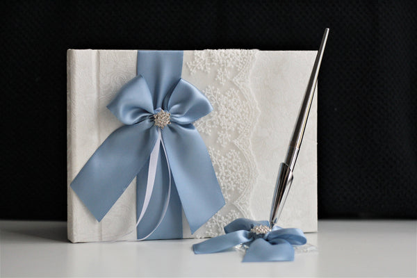 Wedding Guest Book, Wedding Guestbook, Steel Blue Guestbook, Guest Book with Pen, Sign in Book, Baby Shower Book, Wishing Book, Pen Stand