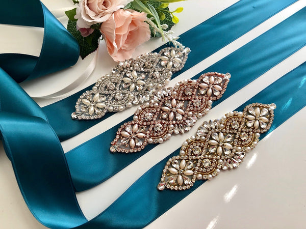 Teal Bridal Sash, Teal Wedding Belt, Bridesmaid Belt, Crystal Belt, Bridal Sash Belt, Teal Flower girl Belt Wedding, Bridal Accessories