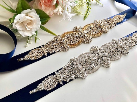 Navy Bridal Belt, Bridal Sash, Hen Party Sash, Navy Blue Wedding Belt, Rhinestone Sash, Blue Bridal Belt Sash, Chrystal Belt, Wedding Sash