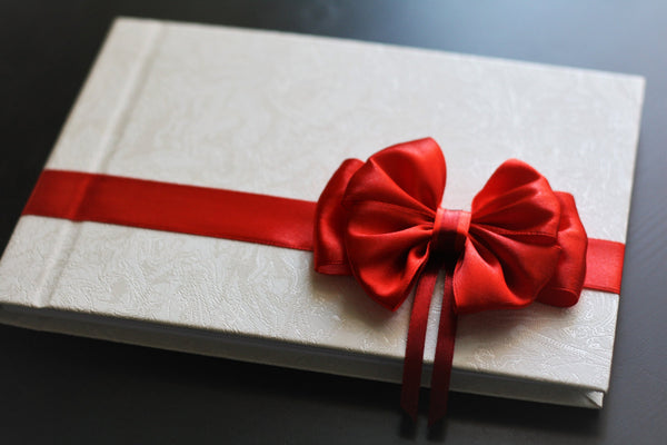 Red and White Wedding Guest Book, Red Bow Wedding Journal, White Bridal Book, White and Red Book for Guest, Red Colour Wedding Guest Book
