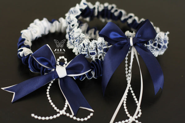 Navy Blue Wedding Garter Set \ Dark Blue Garters \ Navy Bridal Garters \ Navy Toss Garters \ Bridal Keepsake Garter \ Something Blue \