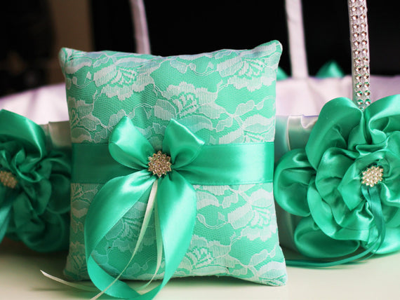 Mint Wedding Pillow Basket Set \ White Mint Bearer Pillow + Flower Girl Basket \  Mint Wedding Basket + Lace Ring bearer Pillow