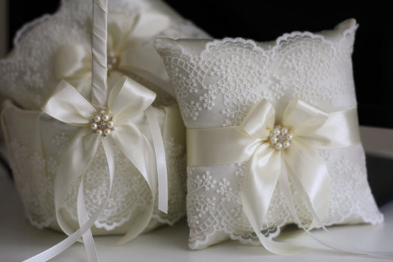 Wedding Basket, Ivory Wedding Pillow, Ivory Wedding Basket, Flower Basket, Wedding Baskets, Weddings, Flower Girl Baskets, Wedding Pillows