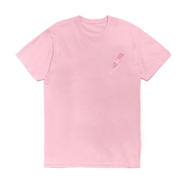 Pink Tee with Lightning Bolt and Lyric Design