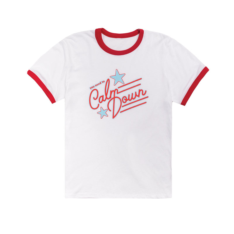 "White and Red ""You Need to Calm Down"" Tee"