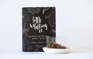 Little Wildling Co Jasmine green tea, mint and rose tea bags.