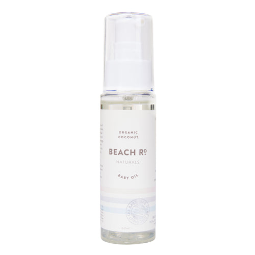 Beach Road Naturals coconut baby oil.