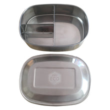 Ever Eco Stainless steel bento box with three compartments.