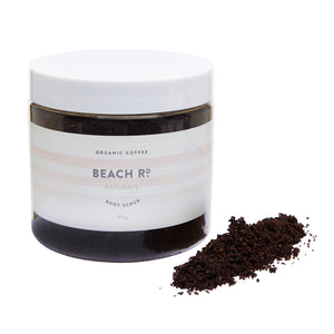 organic coffee scrub in a tub by Beach Road Naturals