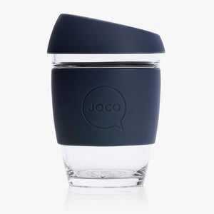 Joco glass reusable coffee cup in dark blue
